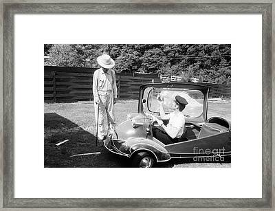 Elvis With His Messerschmitt Microcar 1956 Framed Print by The Harrington Collection