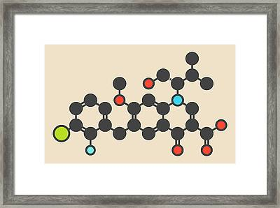 Elvitegravir Hiv Treatment Drug Molecule Framed Print by Molekuul