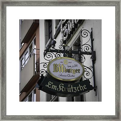 Em Krutzche Restaurant Sign Framed Print by Teresa Mucha