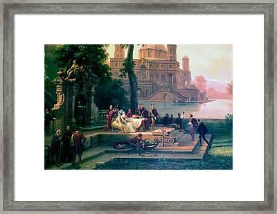 Emanuele Filiberto Receives Torquato Tasso In The Gardens Of The Park Framed Print by Massimo D Azeglio