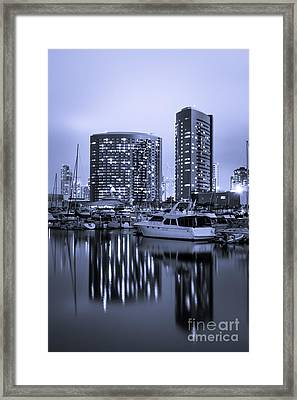 Embarcadero Marina At Night In San Diego California Framed Print by Paul Velgos