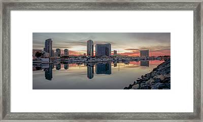 Embarcadero Marina Sunrise Framed Print by Robert  Aycock