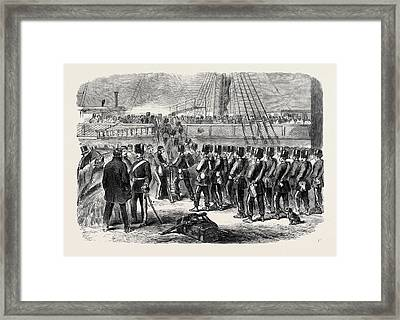 Embarkation At Woolwich Of The E Battery Fourth Brigade Framed Print
