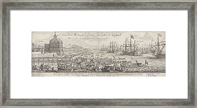 Embarkation Of Catherine Of Braganza In Lisbon Framed Print