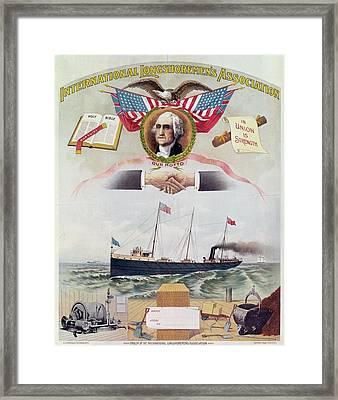 Emblem Of The International Longshoremens Association, C.1886 Litho Framed Print