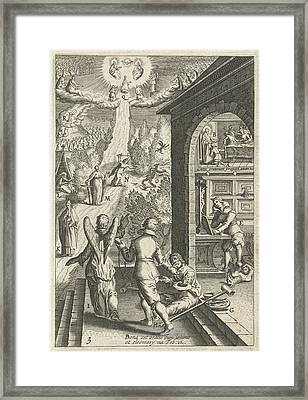 Emblem With Man Prepares Himself With Good Deeds Framed Print by Artokoloro