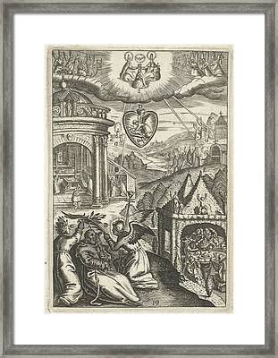 Emblem With Veneration Of Saint Francis Of Assisi Who Lived Framed Print