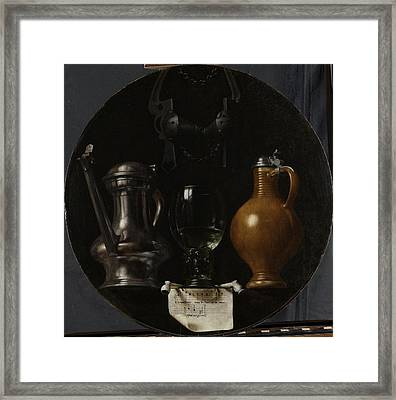 Emblematic Still Life With Flagon, Glass Framed Print by Litz Collection