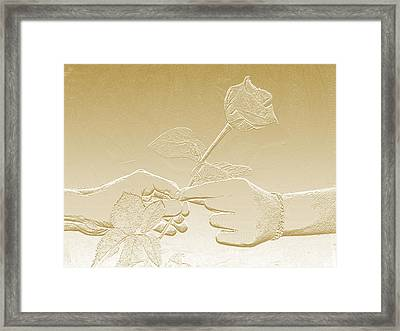 Embossed Gold Rose By Jan Marvin Studios Framed Print
