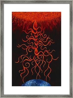 Solar Cosmos Embrace Framed Print by Karen Balon
