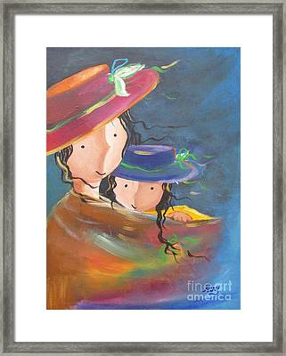 Framed Print featuring the painting Embrace by Nereida Rodriguez