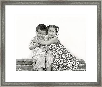 Embracing Friendship Framed Print by Sarah Batalka