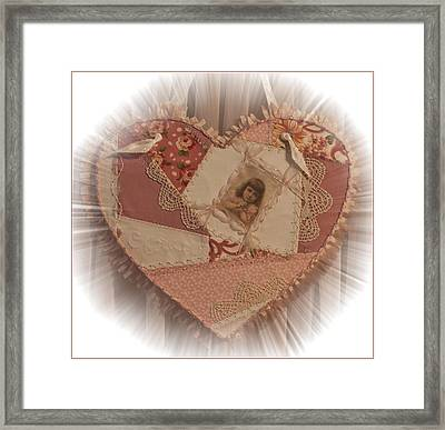 Embroidered Crazy Quilt Patchwork Heart Framed Print by Sandra Foster