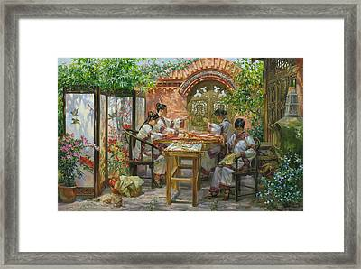 Embroideresses In Sichuan Province Framed Print