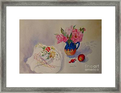 Embroidery And Roses Framed Print