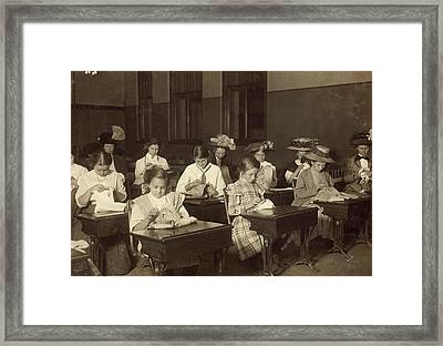 Embroidery Class, 1909 Framed Print by Granger