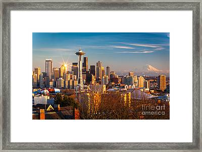Emerald City Sunset Framed Print by Inge Johnsson