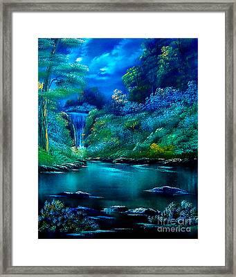 Emerald Falls 2 Framed Print by Cynthia Adams