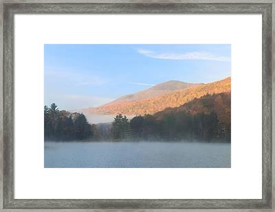 Emerald Lake Vermont Autumn Morning  Framed Print by John Burk