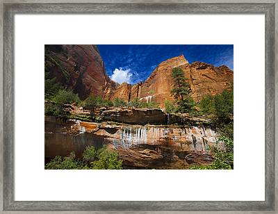 Framed Print featuring the photograph Emerald Pools Falls Zion Park by Richard Wiggins