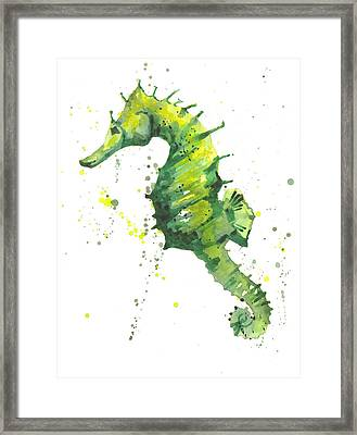 Emerald Seahorse Framed Print by Alison Fennell