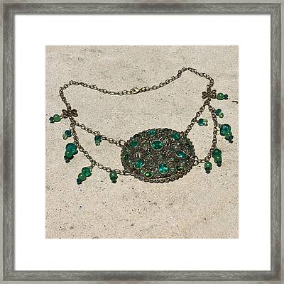Emerald Vintage New England Glass Works Brooch Necklace 3632 Framed Print by Teresa Mucha