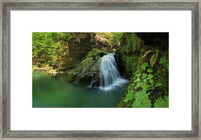 Emerald Waterfall Framed Print by Davorin Mance