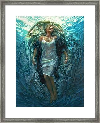 Framed Print featuring the painting Emerge Lighter Version by Mia Tavonatti