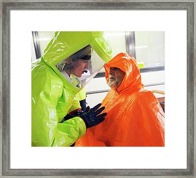 Emergency Response Worker And Casualty Framed Print by Public Health England