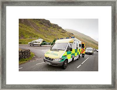 Emergency Services At Crash Site Framed Print by Ashley Cooper