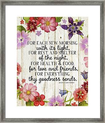 Emerson Quote W Flowers Framed Print by Amy Cummings
