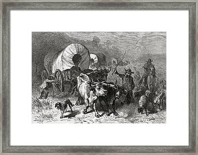 Emigration To The Western Country, Engraved By Bobbett Engraving Bw Photo Framed Print by Felix Octavius Carr Darley