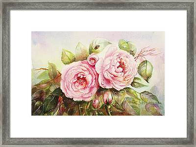Framed Print featuring the painting Emily English Roses by Patricia Schneider Mitchell