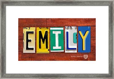 Emily License Plate Name Sign Fun Kid Room Decor Framed Print