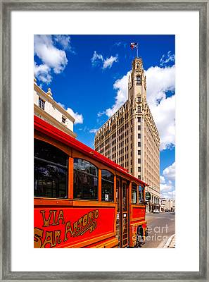 Emily Morgan Hotel And Red Streetcar - San Antonio Texas Framed Print