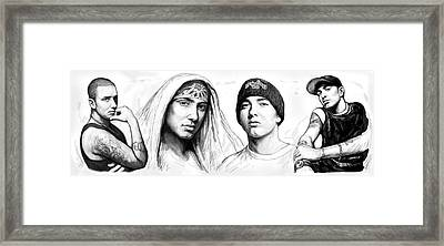 Eminem Art Drawing Sketch Poster Framed Print by Kim Wang