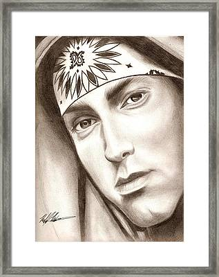 Eminem Framed Print by Michael Mestas