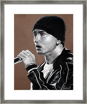 Eminem - Slimshady - Marshall Mathers - Portrait Framed Print by Prashant Shah