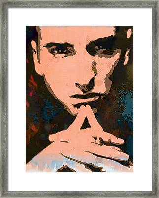 Eminem - Stylised Pop Art Poster Framed Print by Kim Wang