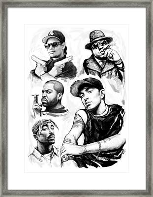 Eminem With Rap Stars Art Drawing Sketch Portrait Framed Print by Kim Wang