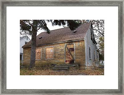 Eminem's Childhood Home Taken On November 11 2013 Framed Print by Nicholas  Grunas