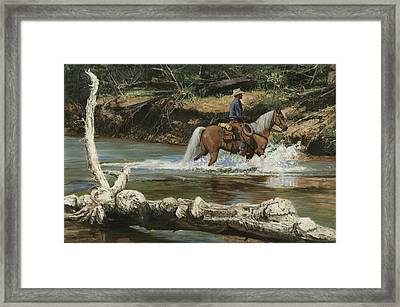 Palomino Crossing Big Creek Framed Print by Don  Langeneckert