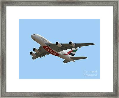 Emirates Airlines Airbus A380-861 Framed Print by Graham Taylor