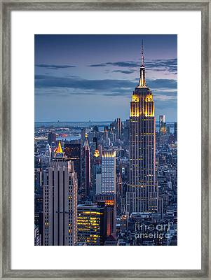 Empire State Framed Print by Marco Crupi