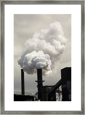 Emissions From The Bluescope Steel Works Framed Print