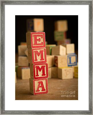 Emma - Alphabet Blocks Framed Print by Edward Fielding