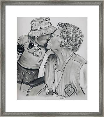 Emma And Great Grandma Framed Print by Barb Baker