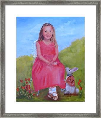 Emma In Wonderland Framed Print by Carol Berning