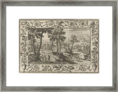 Emmaus, Adriaen Collaert, Eduwart Van Hoeswinckel Framed Print by Adriaen Collaert And Eduwart Van Hoeswinckel