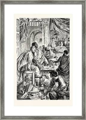 Emperor And Learned Men Of The Eastern Or Byzantine Empire Framed Print by English School